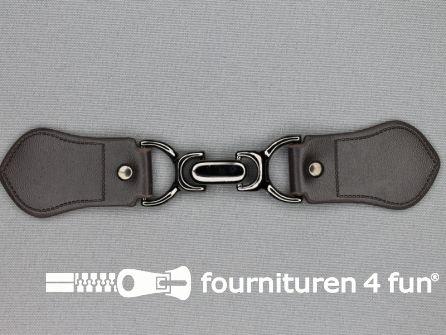 Siersluiting leer 158x32mm bruin - zwart zilver