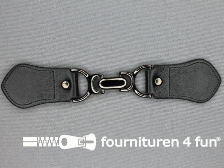 Siersluiting leer 158x32mm zwart - zwart zilver