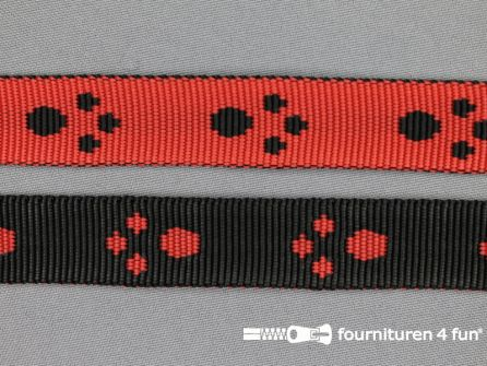 Geweven halsband pootjes 20mm rood - zwart coupon 8,4 meter