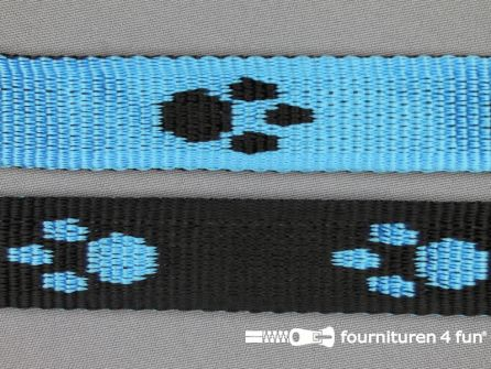 Geweven halsband pootjes 25mm blauw - zwart