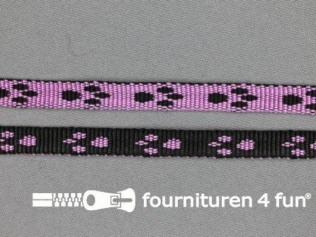 Geweven halsband pootjes 10mm lila - zwart