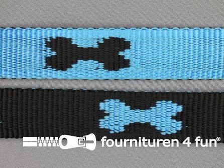 Geweven halsband botje 25mm blauw - zwart