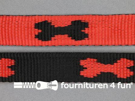Geweven halsband botje 25mm rood - zwart