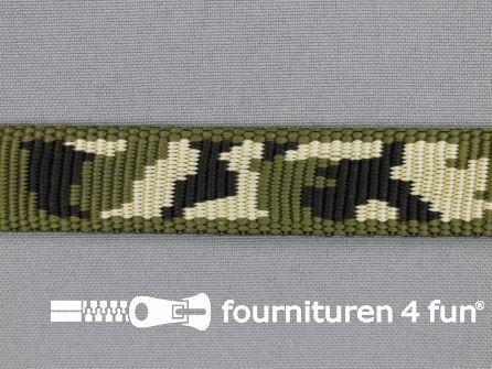 Geweven halsband camouflage 20mm groen