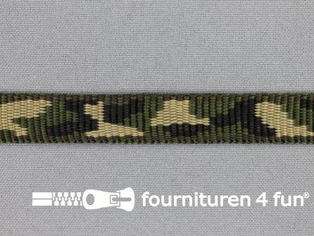 Geweven halsband camouflage 15mm groen