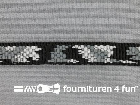 Geweven halsband camouflage 15mm grijs