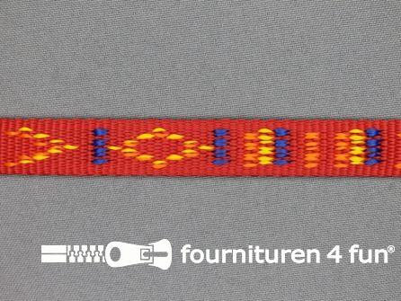 Geweven halsband aztec 15mm rood
