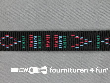 Geweven halsband aztec 20mm zwart