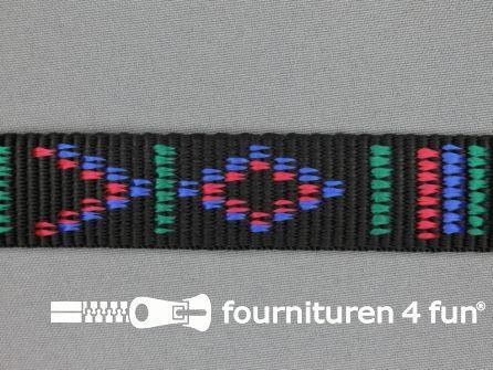 Geweven halsband aztec 25mm zwart