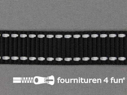 Geweven halsband reflectie buitenkant 20mm zwart
