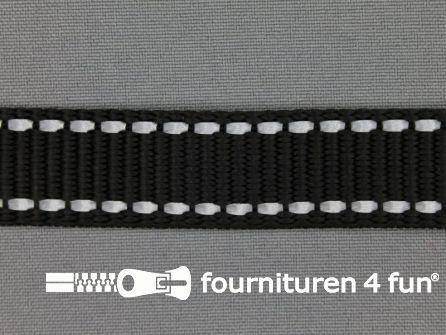 Rol 50 meter geweven halsband reflectie buitenkant 20mm zwart