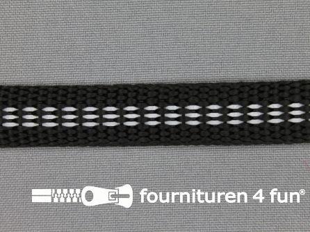 Geweven halsband reflectie binnenkant 15mm zwart