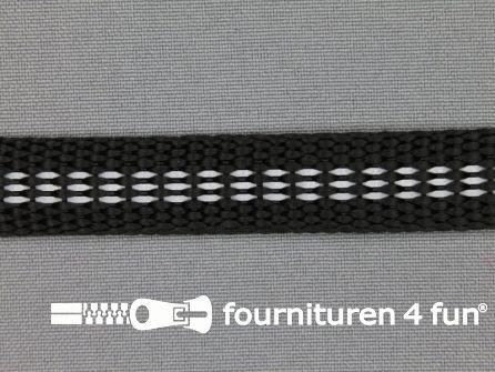 Rol 50 meter geweven halsband reflectie binnenkant 15mm zwart