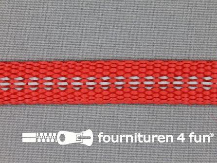 Geweven halsband reflectie binnenkant 15mm rood