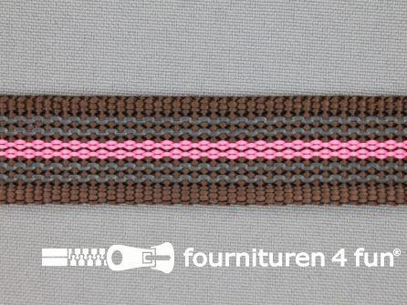 Rubber halsband 20mm bruin - roze