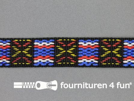 Geweven halsband inca 25mm zwart