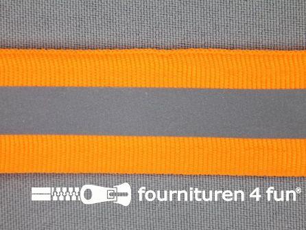 Rol 50 meter reflecterende band 25mm neon oranje