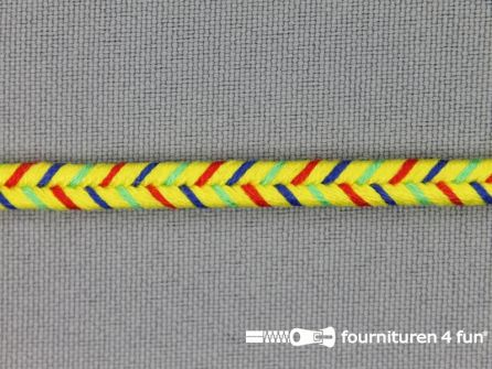 Soutache koord 6mm multicolor - geel