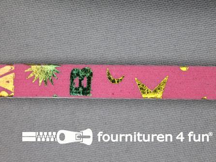 Synthetische halsband 10mm roze - multicolor motief