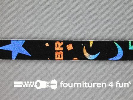Synthetische halsband 10mm zwart - multicolor motief