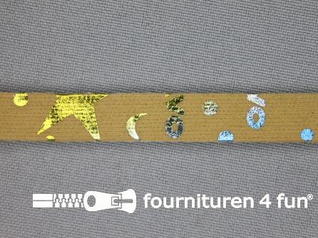 Synthetische halsband 10mm beige - multicolor motief