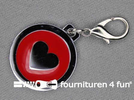 Halsband decoratie 25mm hartje - rood