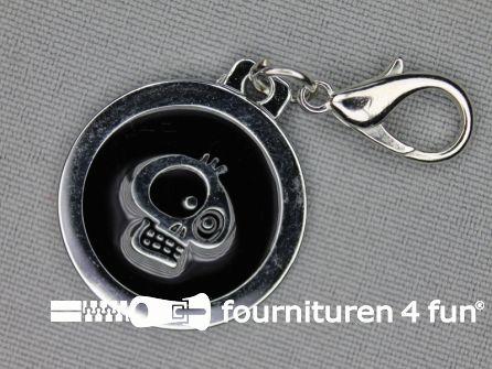 Halsband decoratie 25mm doodskop - zwart