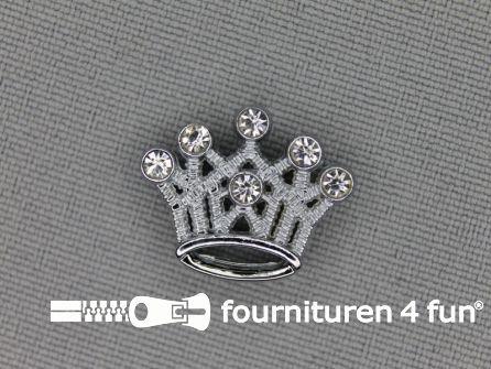 Halsband decoratie 10mm klein kroontje - strasstenen