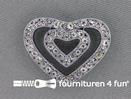 Halsband decoratie 18mm dubbel hart - strasstenen