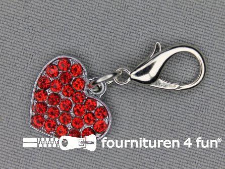 Halsband decoratie 18mm  hartje - rode strasstenen
