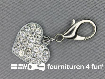 Halsband decoratie 18mm  hartje - witte strasstenen