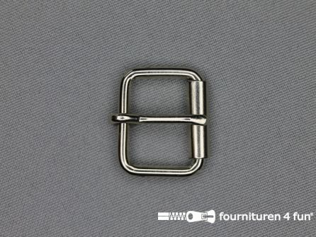 Metalen rolgesp 20mm zilver