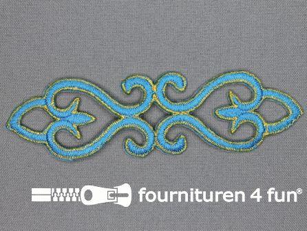 Goud - aqua blauw barok applicatie 121x34mm