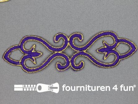 Goud - paars barok applicatie 121x34mm