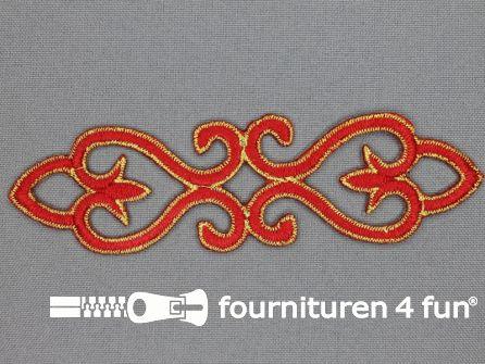 Goud - rood barok applicatie 121x34mm