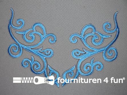 Zilver - aqua blauw applicatie 190x90mm per paar