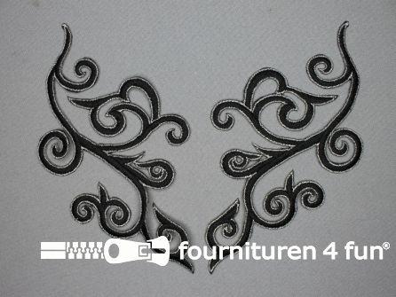 Zilver - zwart applicatie 90x190mm per paar