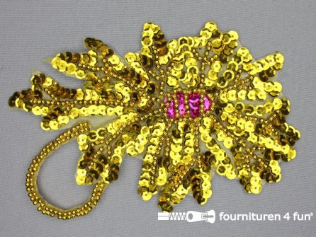 Pailletten applicatie 115x170mm bloem goud - fuchsia