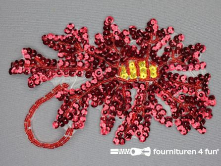 Pailletten applicatie 115x170mm bloem rood - goud