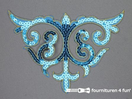 Pailletten applicatie 110x160mm aqua blauw - goud
