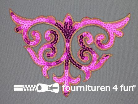 Pailletten applicatie 110x160mm fuchsia roze - goud