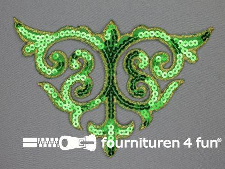 Pailletten applicatie 110x160mm groen - goud