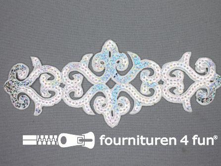 Pailletten applicatie 83x210mm hologram zilver