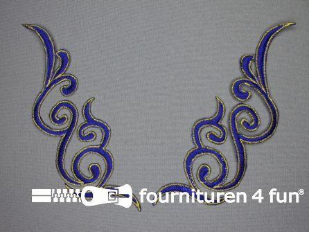 Goud - kobalt blauw applicatie 175x50mm per paar