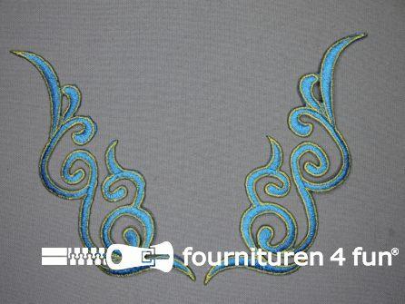 Goud - aqua blauw applicatie 175x50mm per paar