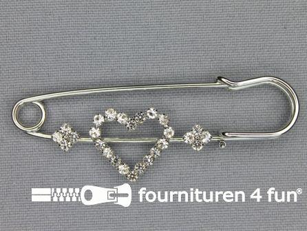 Kiltspeld 65mm strasstenen hartje - zilver