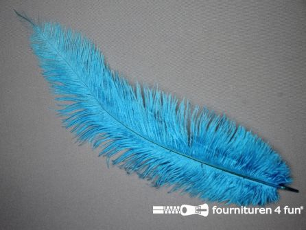 Struisvogelveer 250mm - 300mm aqua blauw