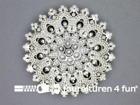 Steam punk gesp 50mm chroom - zilver