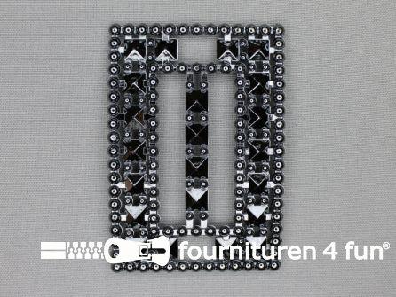Steam punk gesp 50mm zwart - zilver
