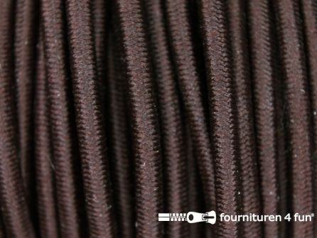 5 meter elastisch koord 3mm donker bruin